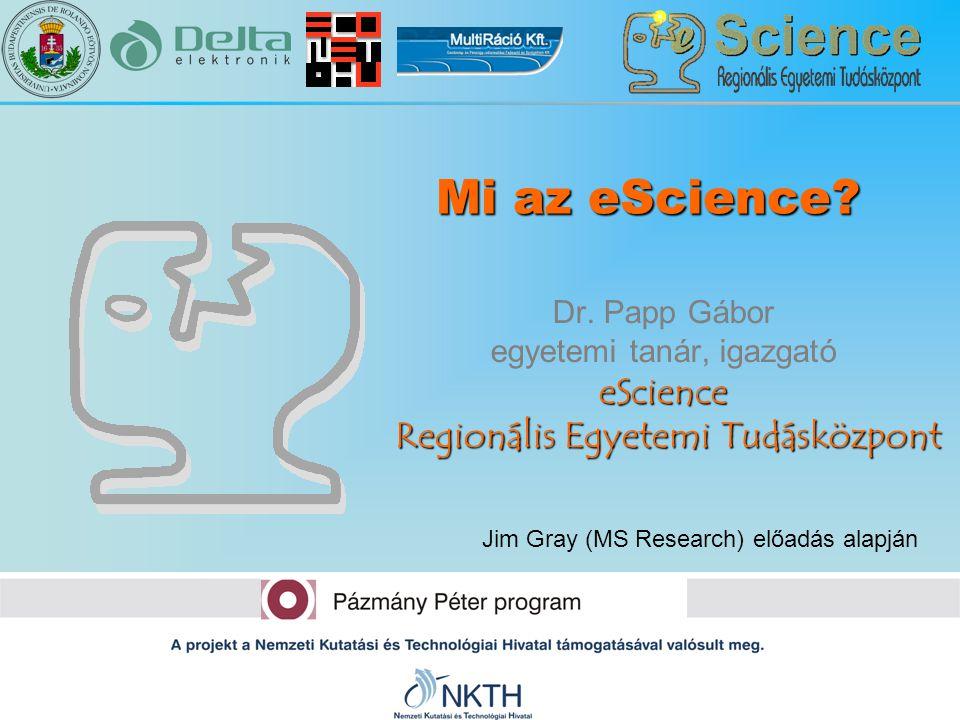 eScience Regionális Egyetemi Tudásközpont Dr. Papp Gábor egyetemi tanár, igazgató eScience Regionális Egyetemi Tudásközpont Mi az eScience? Jim Gray (