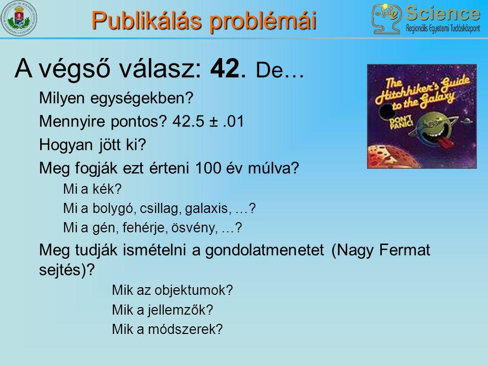 Publikálás problémái A végső válasz: 42. De… Milyen egységekben? Mennyire pontos? 42.5 ±.01 Hogyan jött ki? Meg fogják ezt érteni 100 év múlva? Mi a k