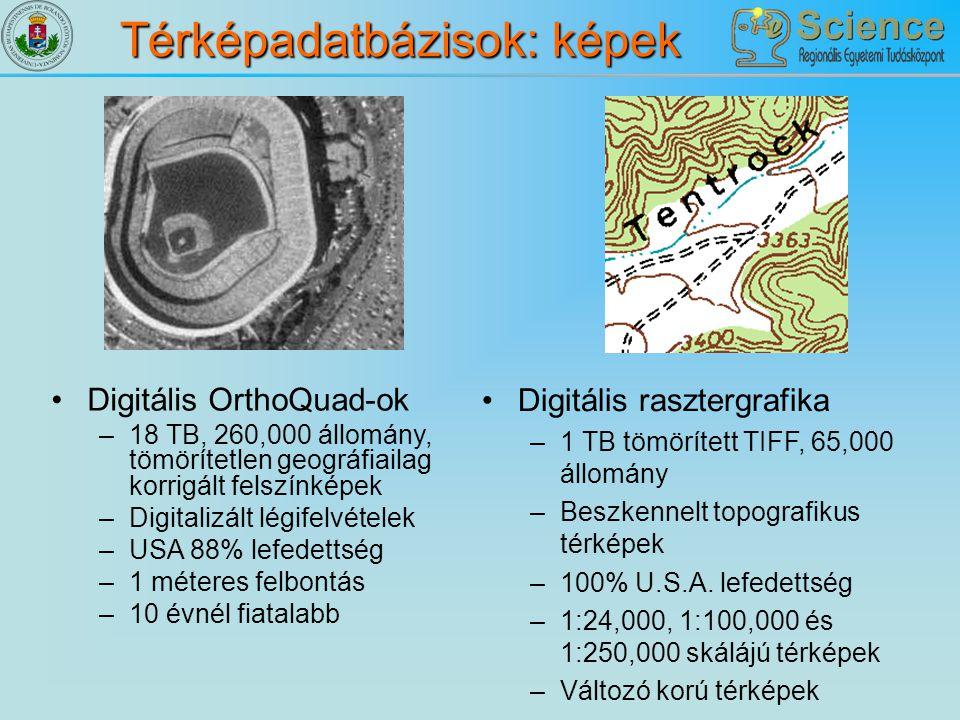 Térképadatbázisok: képek Digitális OrthoQuad-ok –18 TB, 260,000 állomány, tömörítetlen geográfiailag korrigált felszínképek –Digitalizált légifelvétel