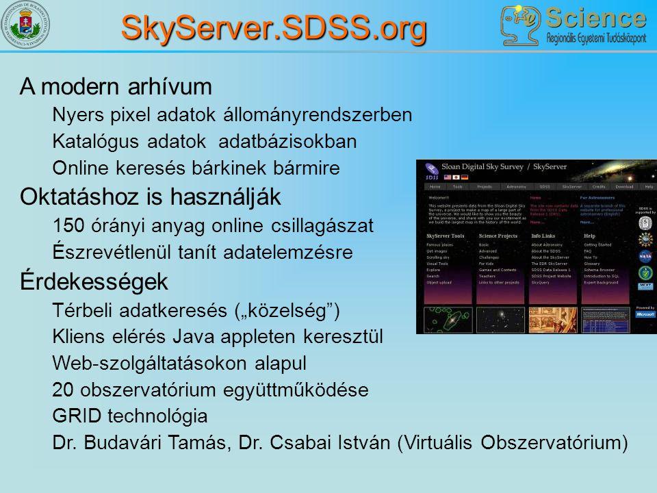 SkyServer.SDSS.org A modern arhívum Nyers pixel adatok állományrendszerben Katalógus adatok adatbázisokban Online keresés bárkinek bármire Oktatáshoz