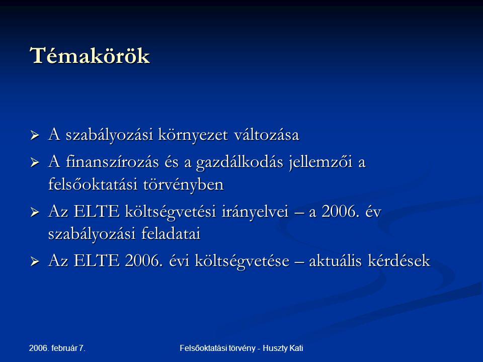 2006.február 7. Felsőoktatási törvény - Huszty Kati ELTE 2006.