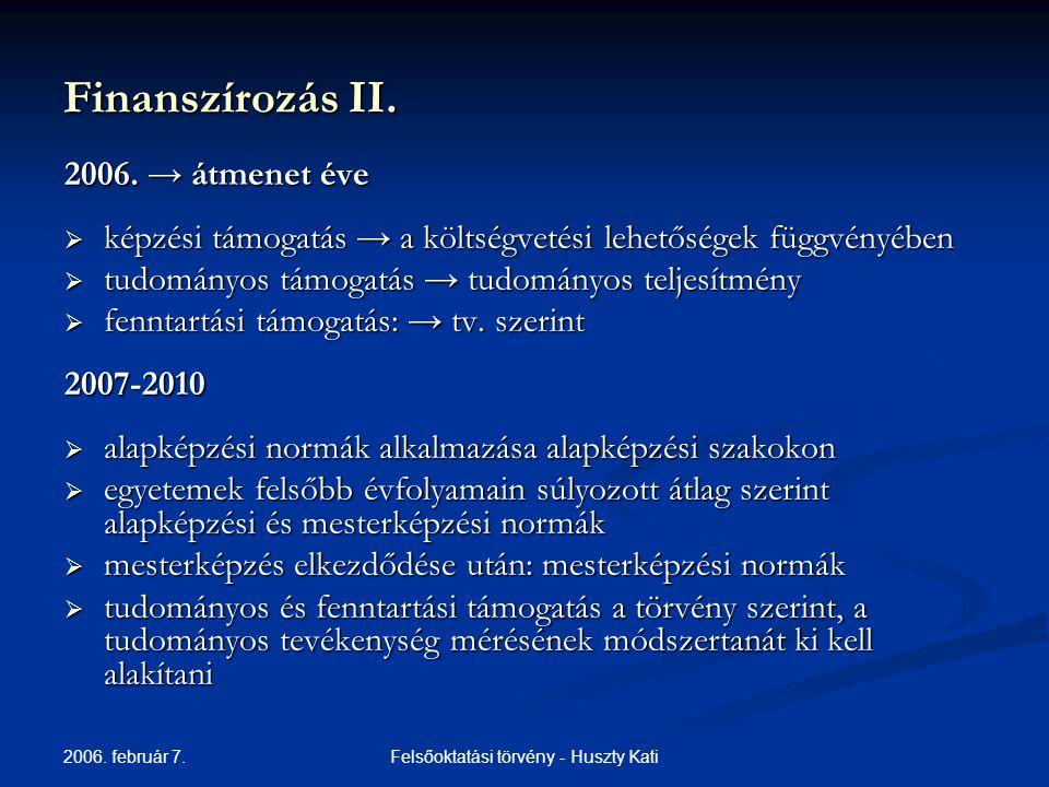 2006. február 7. Felsőoktatási törvény - Huszty Kati Finanszírozás II.
