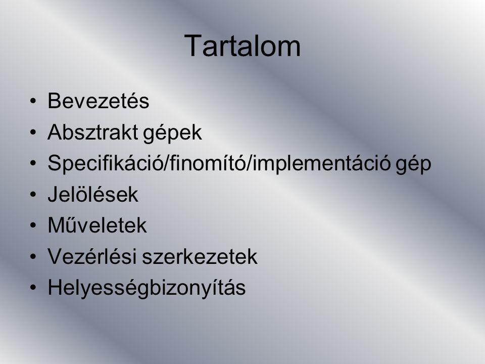Specifikáció gép 5 ASSERTIONS –tulajdonságok (invariáns, környezeti információ) DEFINITIONS –bal_oldal=jobb_oldal minkettő B formula INITIALIZATION –minden változóra kötelező, rekurzív OPERATIONS –műveletek leírása END –kötelező zárás
