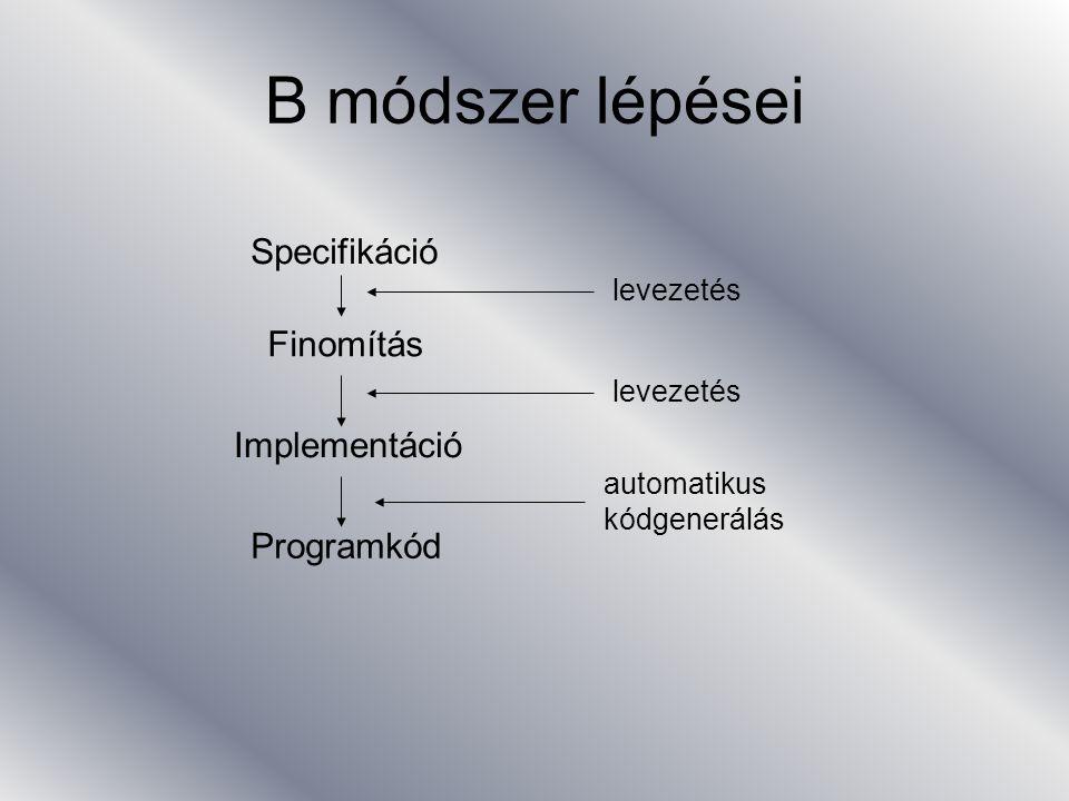 Implementáció gép 2 (láthatóság, hozzáférés gépekhez) SEES –konstansok, halmazok, változók láthatóak, de nem módosíthatóak IMPORTS –felhasznált gépek listája –konstans, halmaz, változó részévé válik, de változó csak műveleten keresztül hivatkozható PROMOTES –IMPORTS-al hivatkozott gép műveletei felsorolva, melyek ennek részeivé válnak