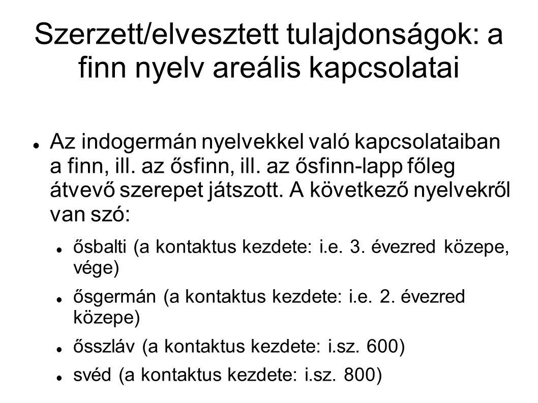 Szerzett/elvesztett tulajdonságok: a finn nyelv areális kapcsolatai Az indogermán nyelvekkel való kapcsolataiban a finn, ill. az ősfinn, ill. az ősfin