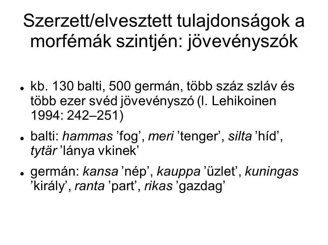Szerzett/elvesztett tulajdonságok a morfémák szintjén: jövevényszók kb. 130 balti, 500 germán, több száz szláv és több ezer svéd jövevényszó (l. Lehik