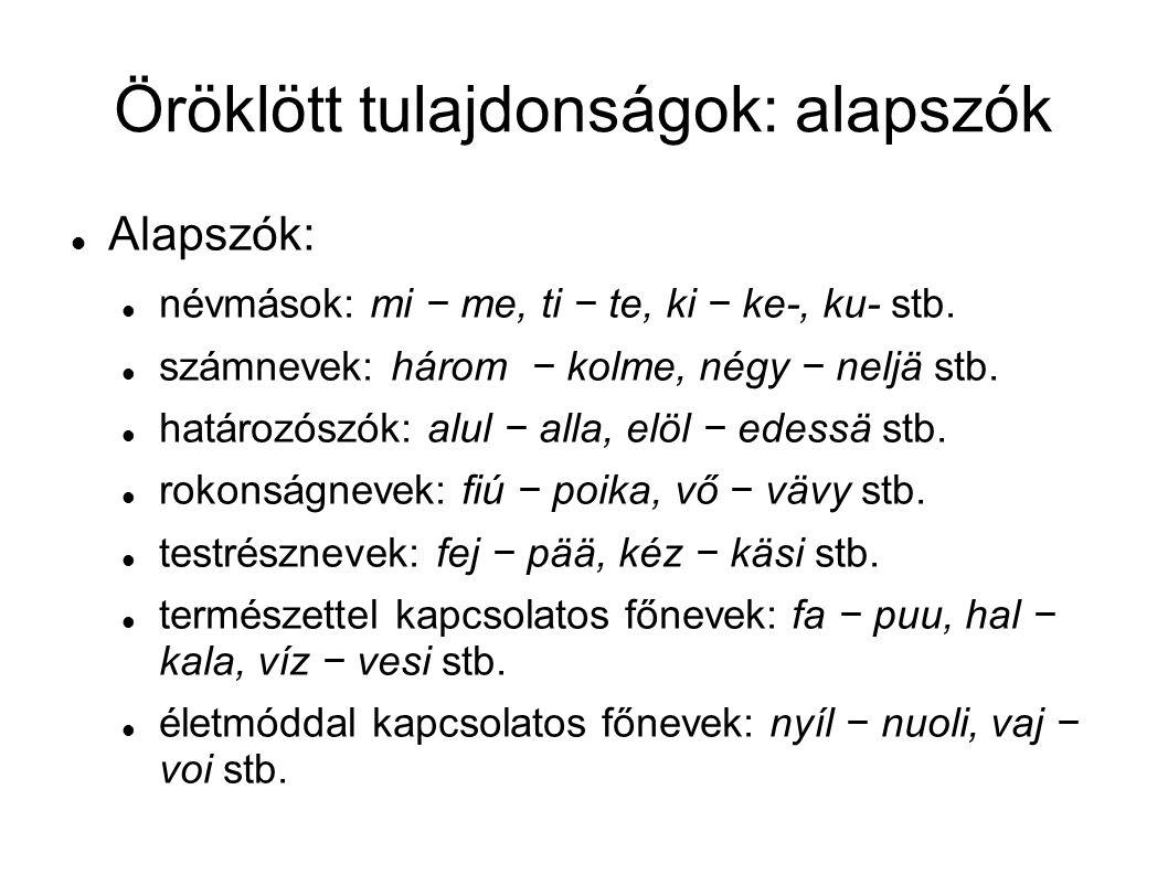 Öröklött tulajdonságok: alapszók társadalommal kapcsolatos főnevek: név − nimi, had − kunta stb.