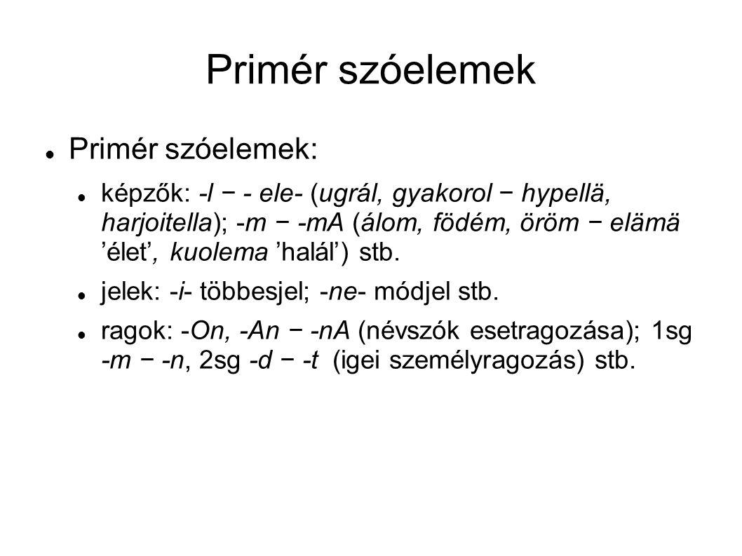 Primér szóelemek Primér szóelemek: képzők: -l − - ele- (ugrál, gyakorol − hypellä, harjoitella); -m − -mA (álom, födém, öröm − elämä 'élet', kuolema '