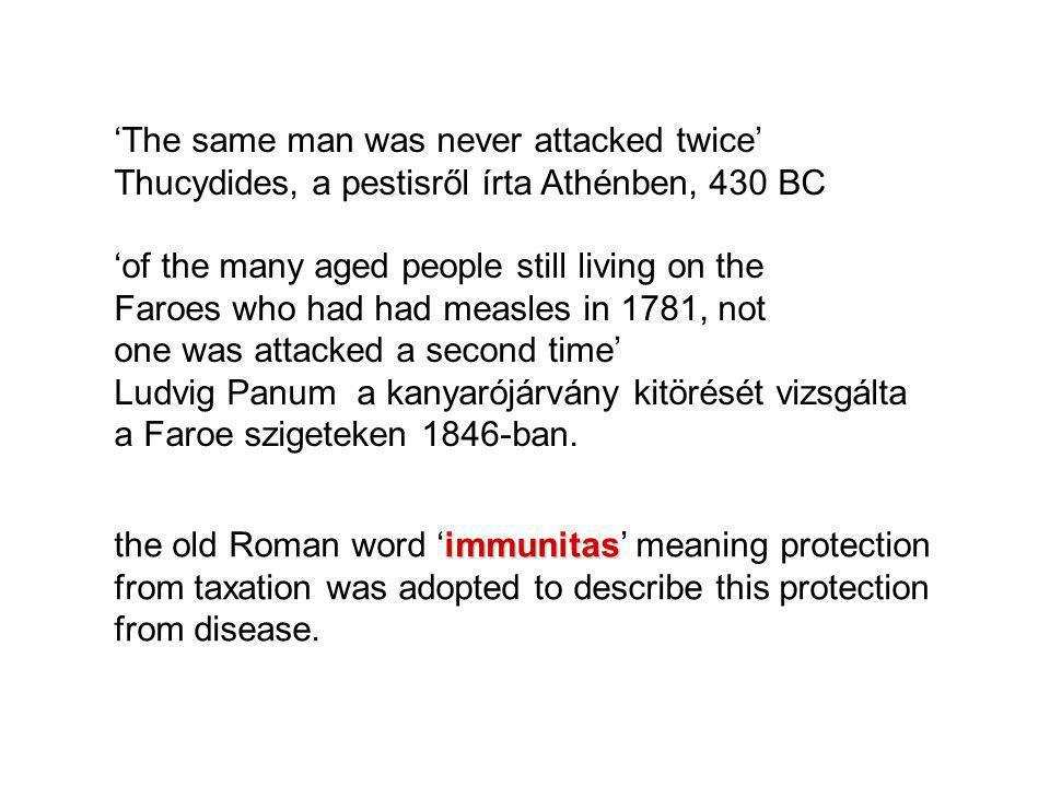 IMMUNOLÓGIAI MEMÓRIA Faroe szigetek- kanyaró járvány: 1781, 1846: 75-95 %, idősek nem  Vírus specifikus immunitás 65 évig fennállt.