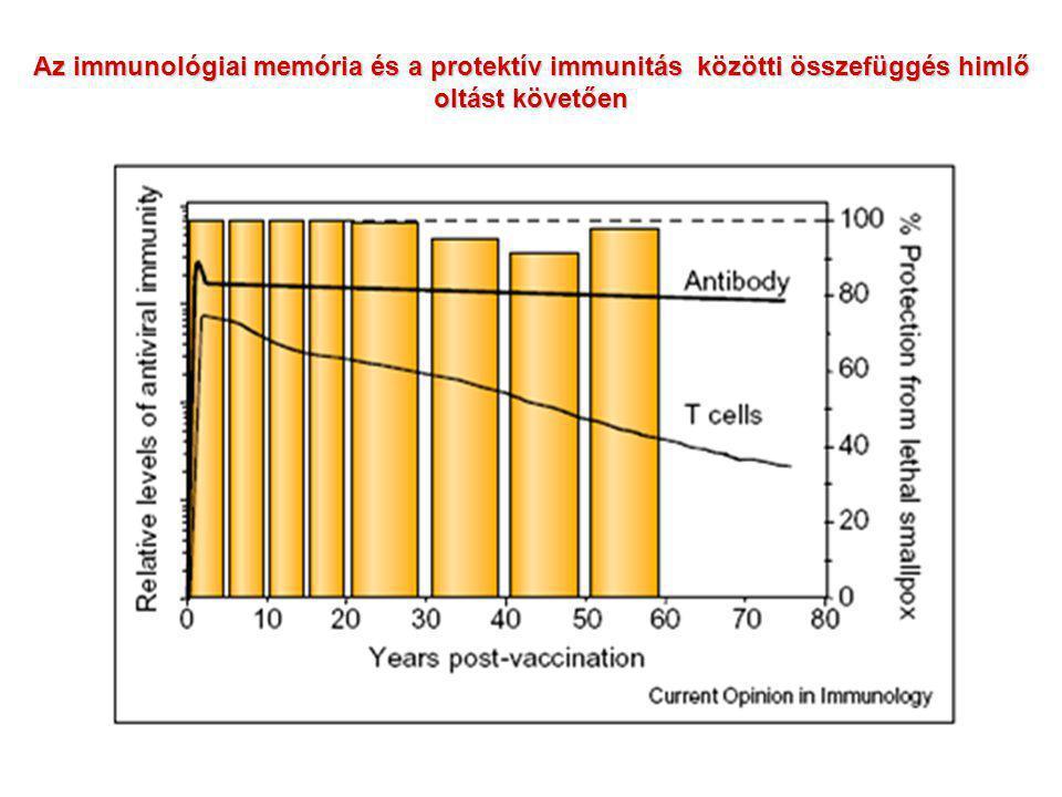 Az immunológiai memória és a protektív immunitás közötti összefüggés himlő oltást követően