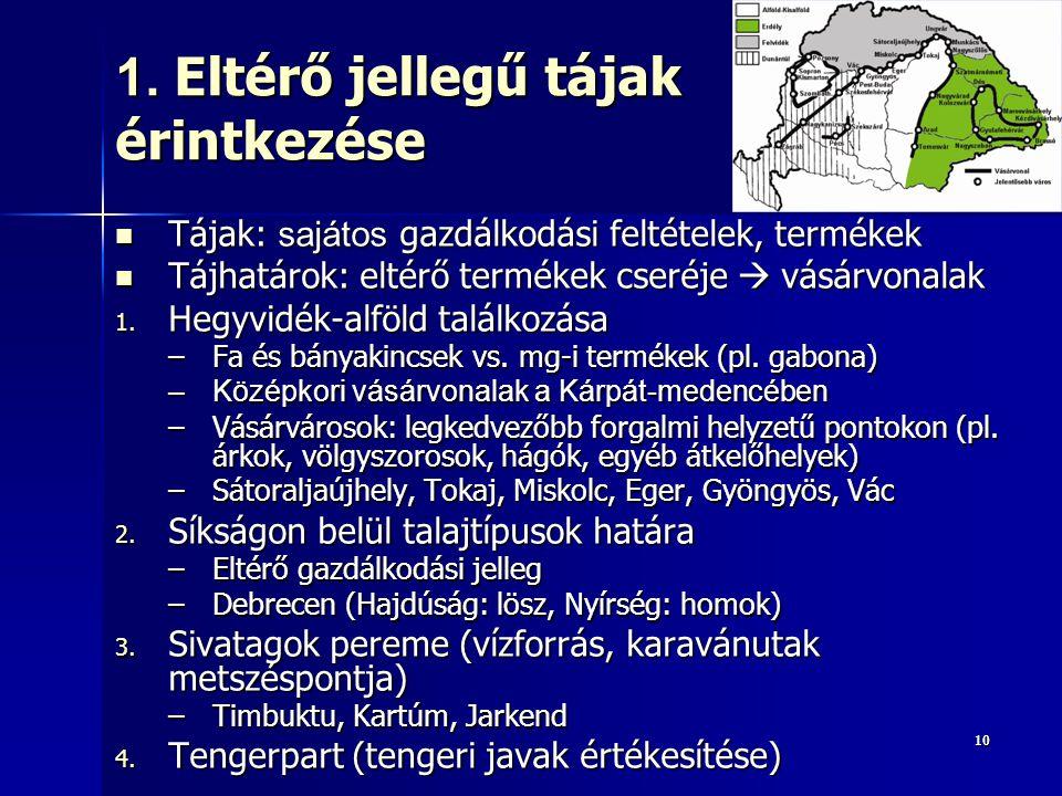 1010 1. Eltérő jellegű tájak érintkezése Tájak: sajátos gazdálkodási feltételek, termékek Tájak: sajátos gazdálkodási feltételek, termékek Tájhatárok: