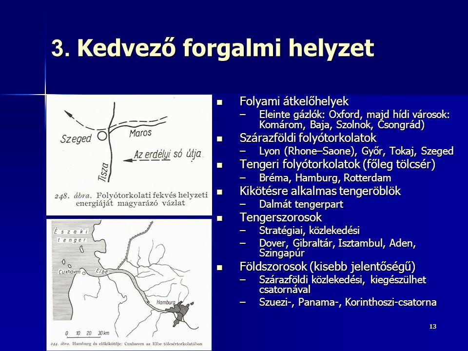 1313 3. Kedvező forgalmi helyzet Folyami átkelőhelyek Folyami átkelőhelyek –Eleinte gázlók: Oxford, majd hídi városok: Komárom, Baja, Szolnok, Csongrá