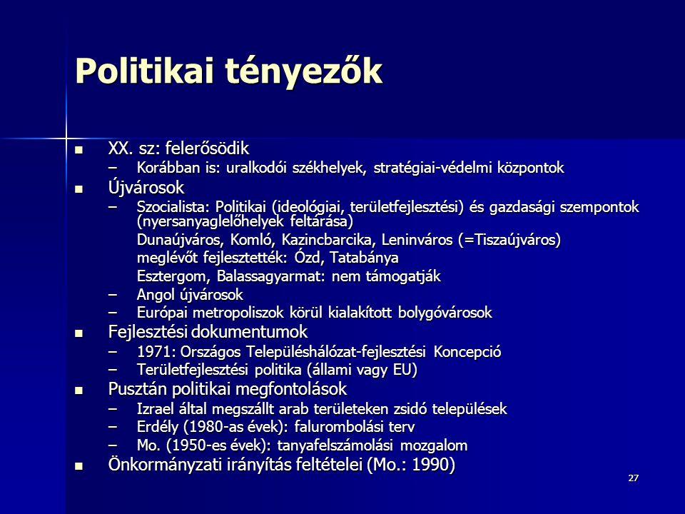 2727 Politikai tényezők XX. sz: felerősödik XX. sz: felerősödik –Korábban is: uralkodói székhelyek, stratégiai-védelmi központok Újvárosok Újvárosok –