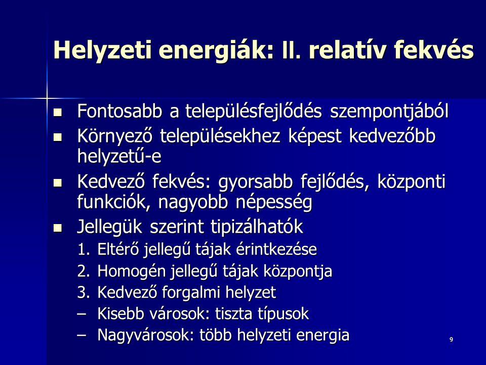9 Helyzeti energiák: II. relatív fekvés Fontosabb a településfejlődés szempontjából Fontosabb a településfejlődés szempontjából Környező településekhe