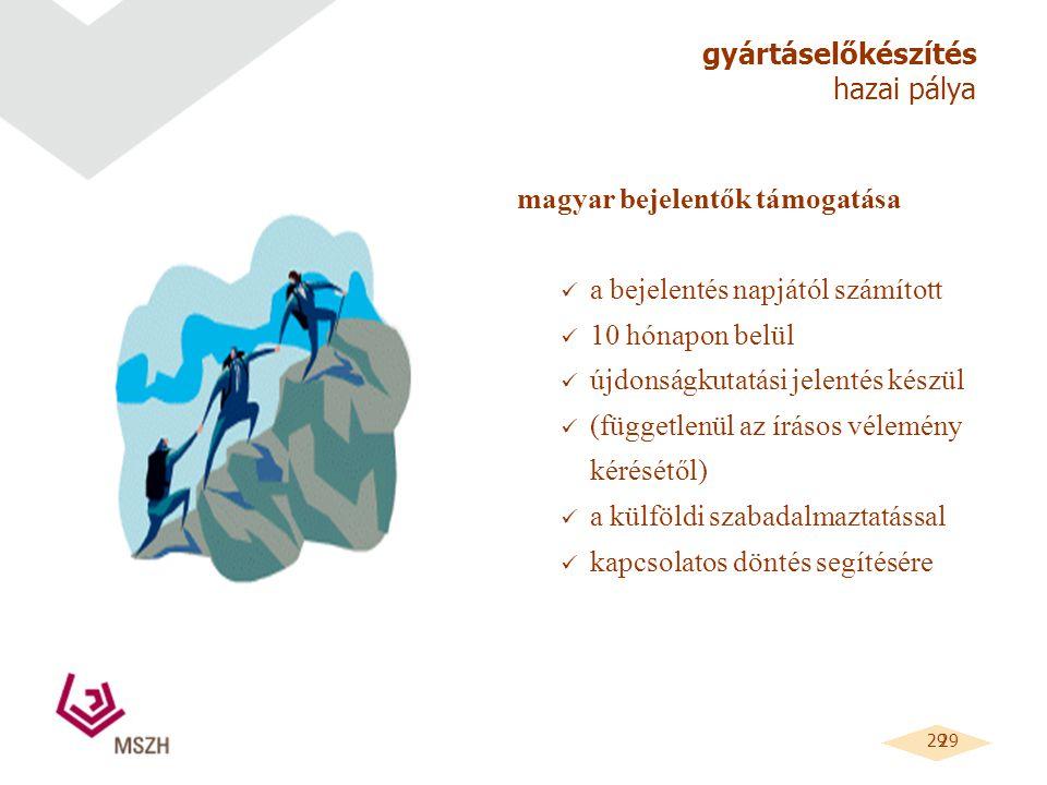 29 gyártáselőkészítés hazai pálya magyar bejelentők támogatása a bejelentés napjától számított 10 hónapon belül újdonságkutatási jelentés készül (függetlenül az írásos vélemény kérésétől) a külföldi szabadalmaztatással kapcsolatos döntés segítésére