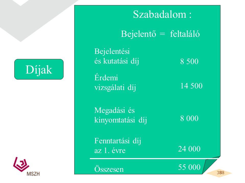 38 Díjak Szabadalom : Bejelentő = feltaláló Bejelentési és kutatási díj 8 500 Érdemi vizsgálati díj Megadási és kinyomtatási díj Fenntartási díj az 1.