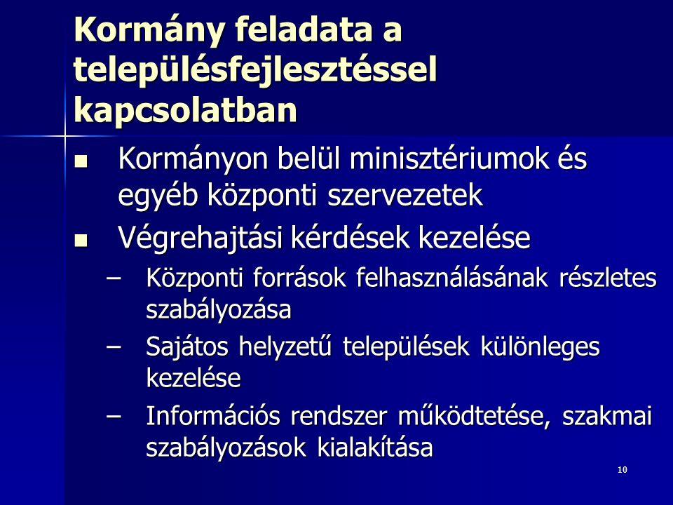 10 Kormány feladata a településfejlesztéssel kapcsolatban Kormányon belül minisztériumok és egyéb központi szervezetek Kormányon belül minisztériumok