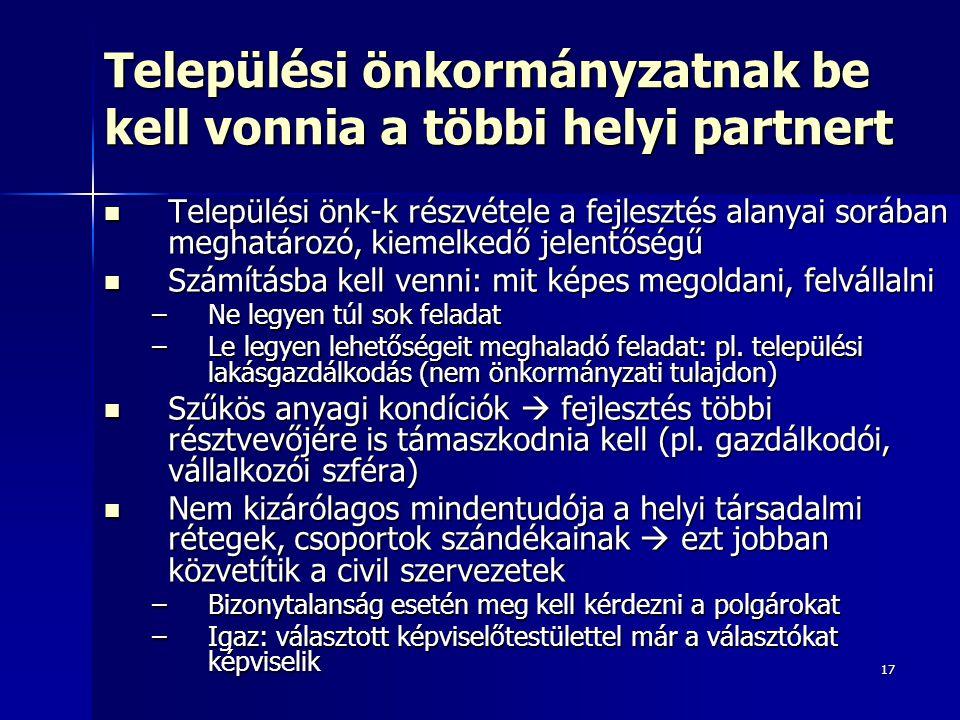 17 Települési önkormányzatnak be kell vonnia a többi helyi partnert Települési önk-k részvétele a fejlesztés alanyai sorában meghatározó, kiemelkedő j