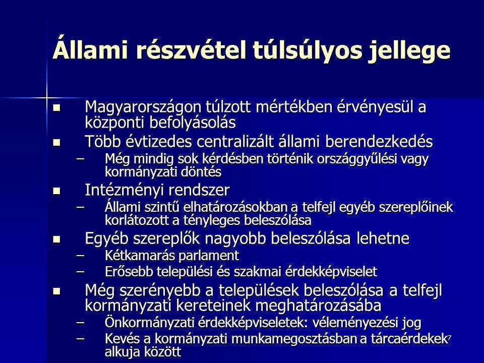 7 Állami részvétel túlsúlyos jellege Magyarországon túlzott mértékben érvényesül a központi befolyásolás Magyarországon túlzott mértékben érvényesül a
