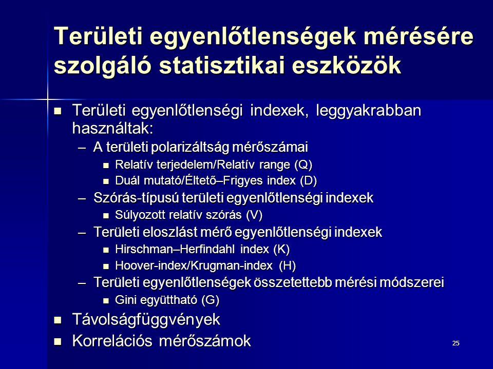 25 Területi egyenlőtlenségek mérésére szolgáló statisztikai eszközök Területi egyenlőtlenségi indexek, leggyakrabban használtak: Területi egyenlőtlens
