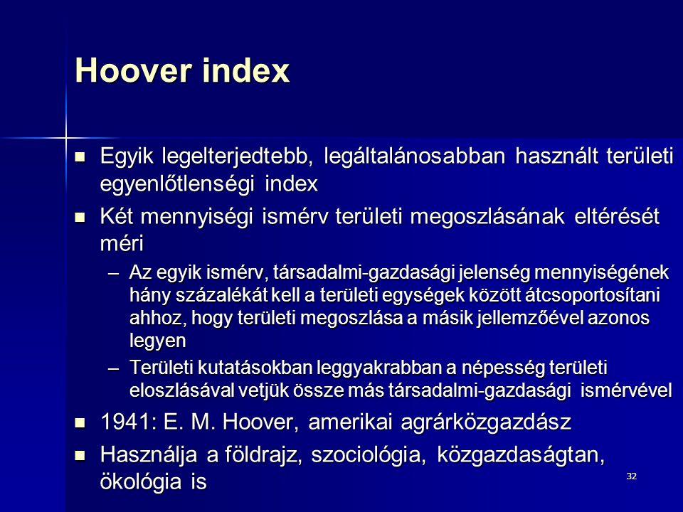32 Hoover index Egyik legelterjedtebb, legáltalánosabban használt területi egyenlőtlenségi index Egyik legelterjedtebb, legáltalánosabban használt ter