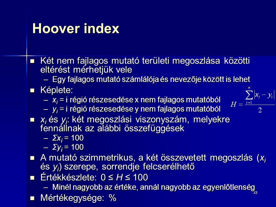 33 Hoover index Két nem fajlagos mutató területi megoszlása közötti eltérést mérhetjük vele Két nem fajlagos mutató területi megoszlása közötti eltéré