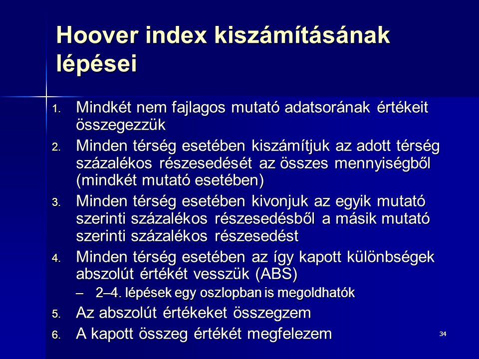 34 Hoover index kiszámításának lépései 1. Mindkét nem fajlagos mutató adatsorának értékeit összegezzük 2. Minden térség esetében kiszámítjuk az adott