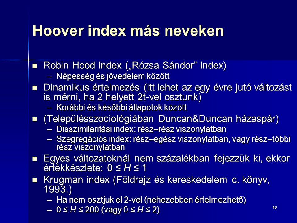 """40 Hoover index más neveken Robin Hood index (""""Rózsa Sándor"""" index) Robin Hood index (""""Rózsa Sándor"""" index) –Népesség és jövedelem között Dinamikus ér"""