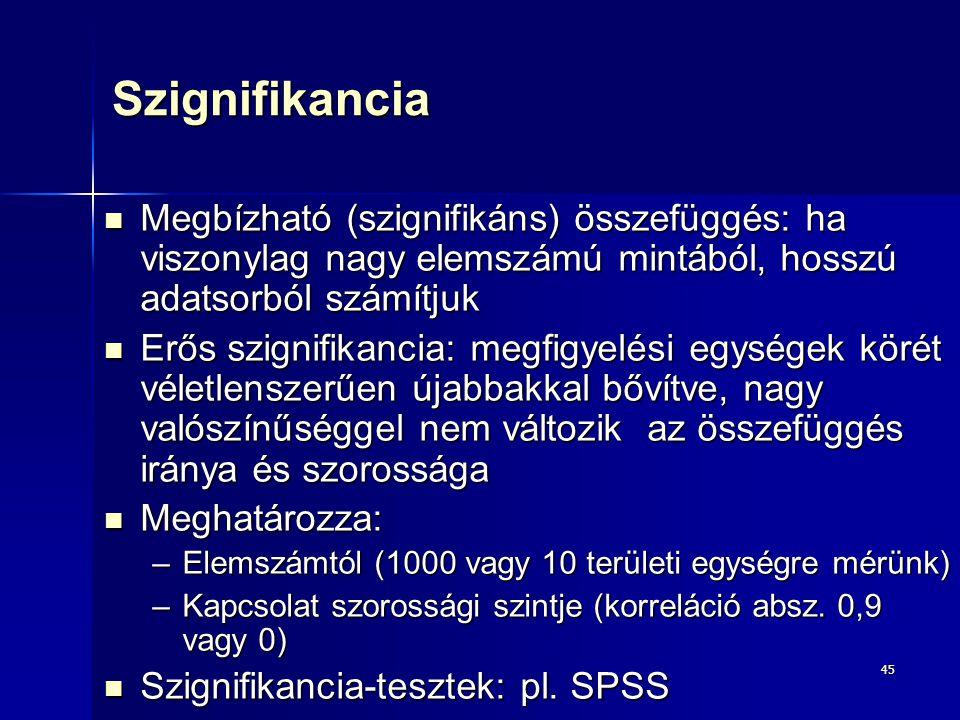 45Szignifikancia Megbízható (szignifikáns) összefüggés: ha viszonylag nagy elemszámú mintából, hosszú adatsorból számítjuk Megbízható (szignifikáns) ö