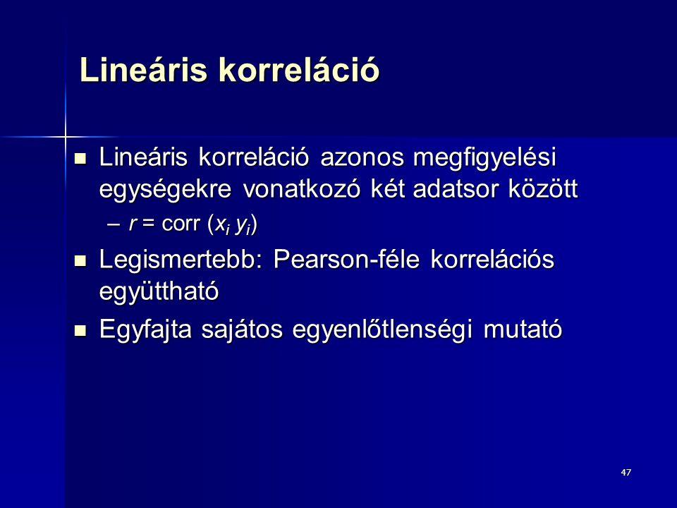 47 Lineáris korreláció Lineáris korreláció azonos megfigyelési egységekre vonatkozó két adatsor között Lineáris korreláció azonos megfigyelési egysége