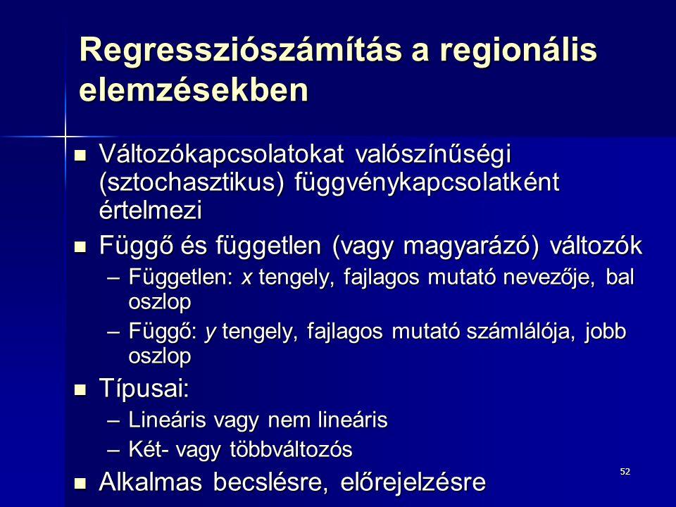 52 Regressziószámítás a regionális elemzésekben Változókapcsolatokat valószínűségi (sztochasztikus) függvénykapcsolatként értelmezi Változókapcsolatok