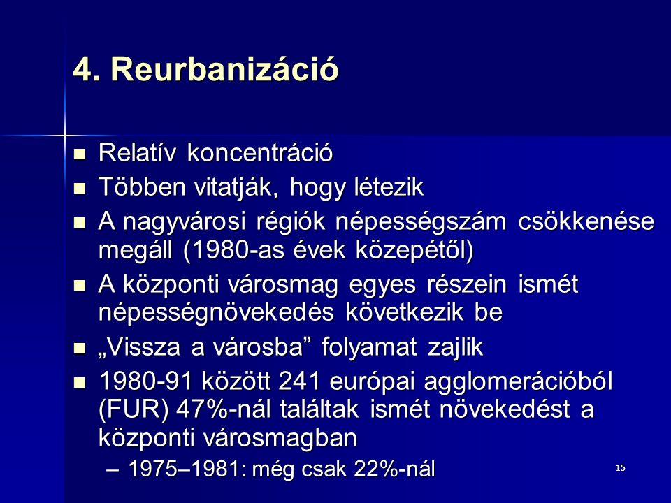 15 4. Reurbanizáció Relatív koncentráció Relatív koncentráció Többen vitatják, hogy létezik Többen vitatják, hogy létezik A nagyvárosi régiók népesség