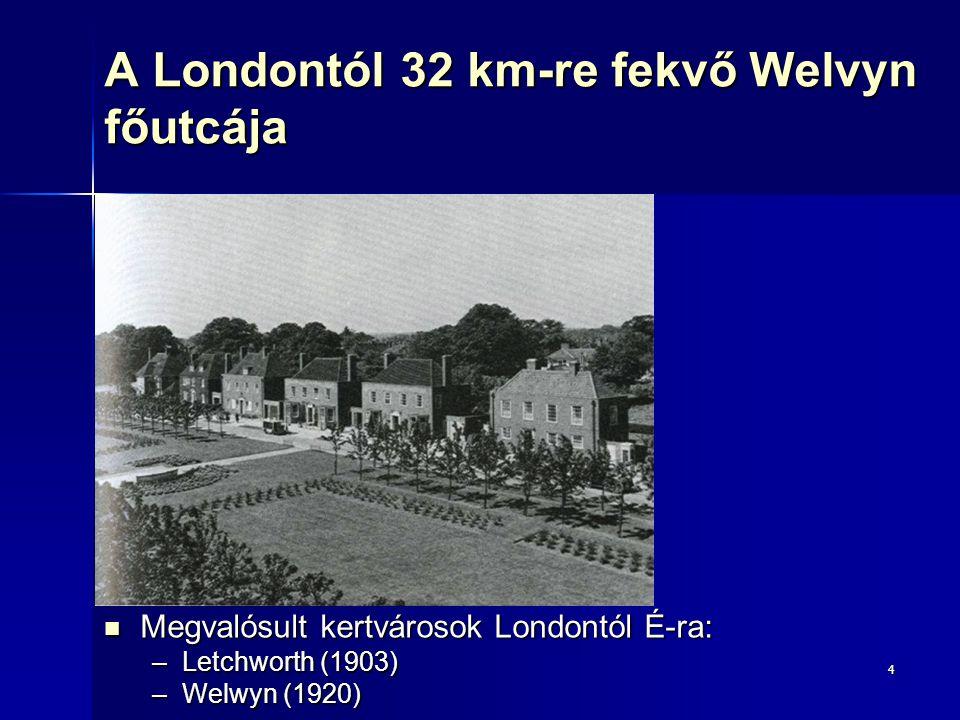 4 A Londontól 32 km-re fekvő Welvyn főutcája Megvalósult kertvárosok Londontól É-ra: Megvalósult kertvárosok Londontól É-ra: –Letchworth (1903) –Welwy