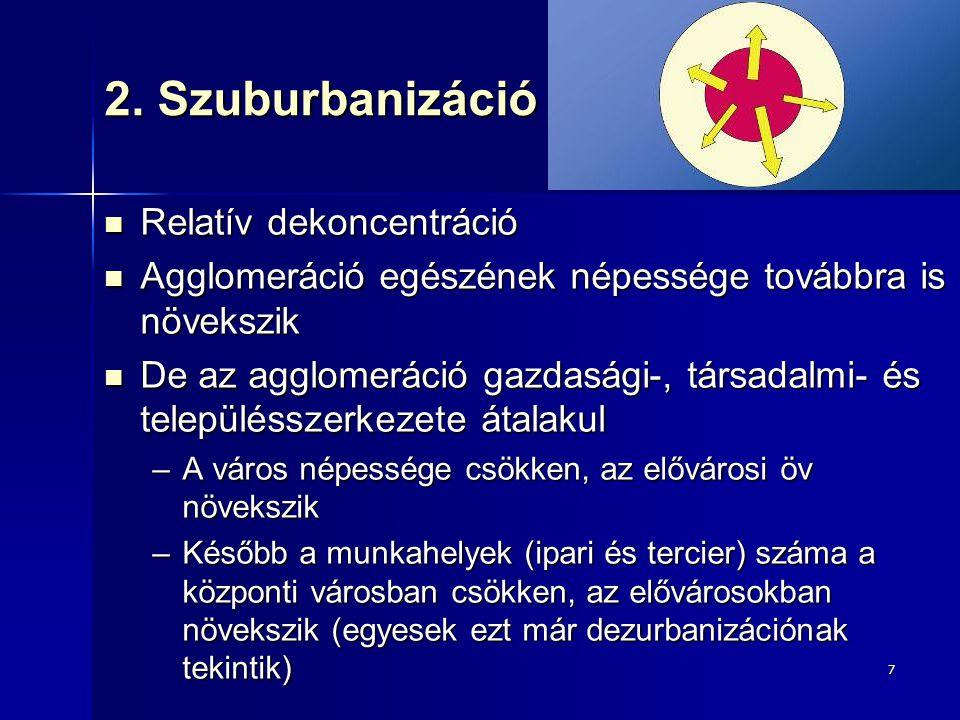 7 2. Szuburbanizáció Relatív dekoncentráció Relatív dekoncentráció Agglomeráció egészének népessége továbbra is növekszik Agglomeráció egészének népes