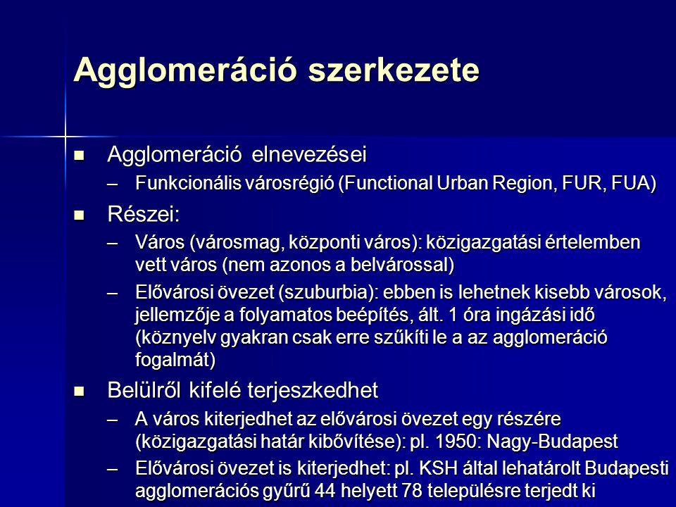 8 Agglomeráció szerkezete Agglomeráció elnevezései Agglomeráció elnevezései –Funkcionális városrégió (Functional Urban Region, FUR, FUA) Részei: Részei: –Város (városmag, központi város): közigazgatási értelemben vett város (nem azonos a belvárossal) –Elővárosi övezet (szuburbia): ebben is lehetnek kisebb városok, jellemzője a folyamatos beépítés, ált.