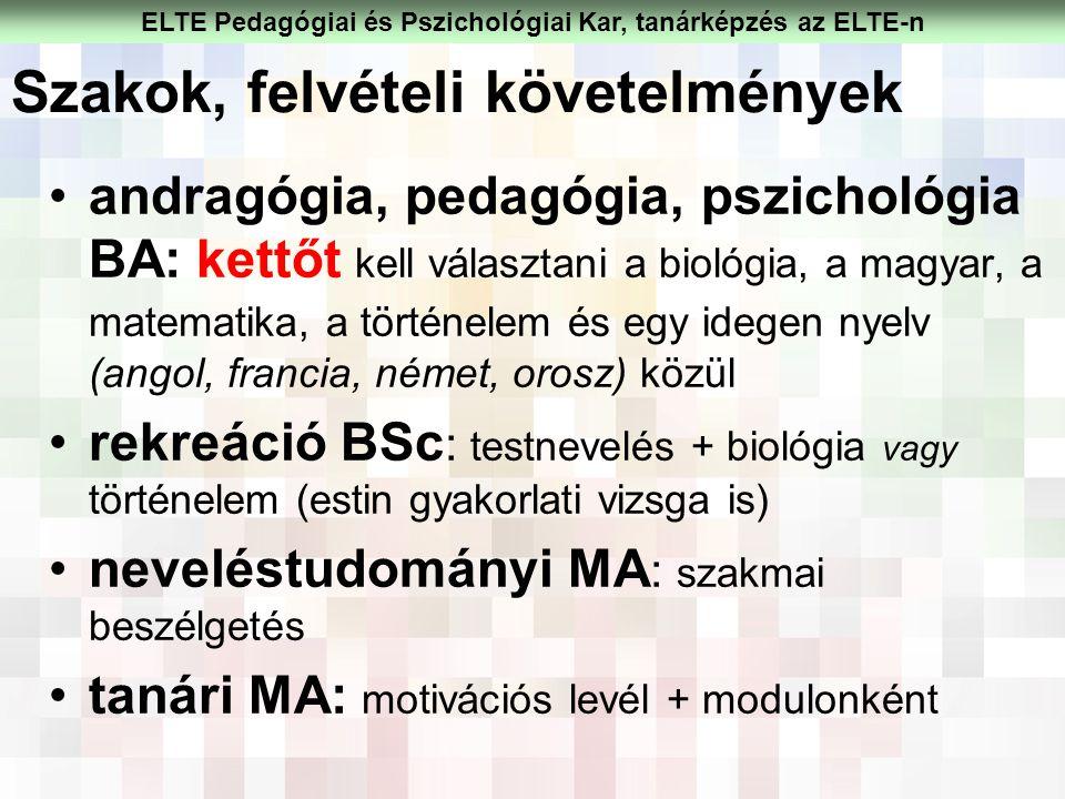 Szakok, felvételi követelmények andragógia, pedagógia, pszichológia BA: kettőt kell választani a biológia, a magyar, a matematika, a történelem és egy