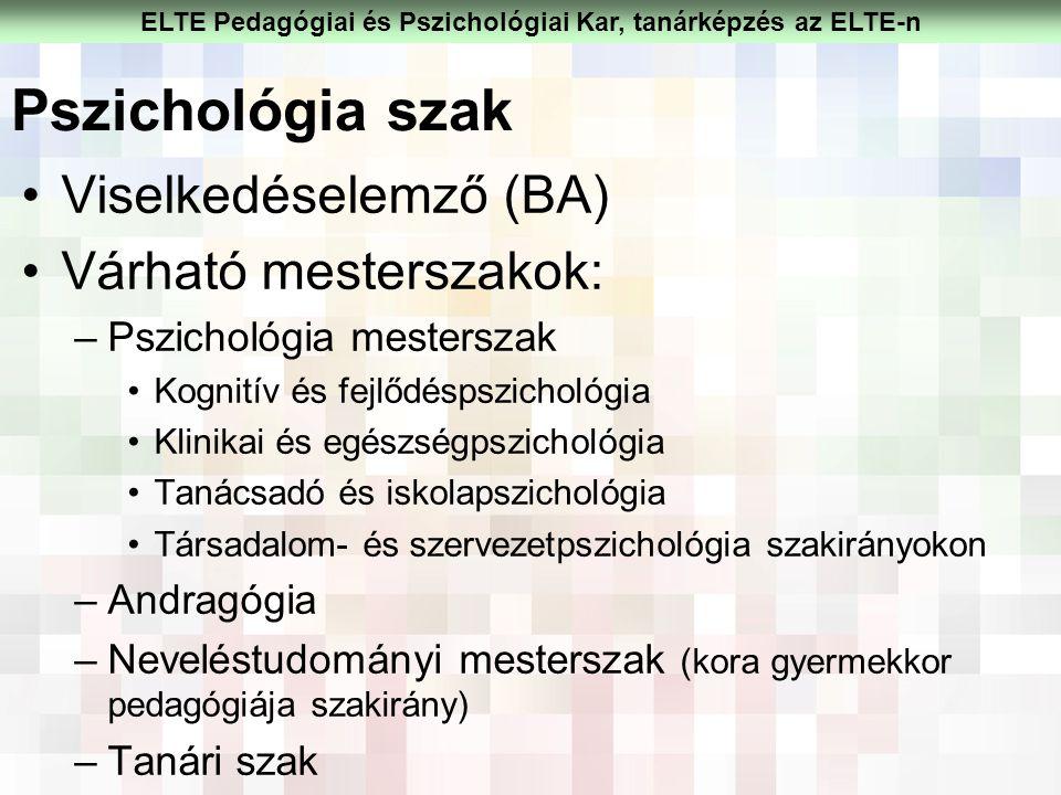 Pszichológia szak Viselkedéselemző (BA) Várható mesterszakok: –Pszichológia mesterszak Kognitív és fejlődéspszichológia Klinikai és egészségpszichológ