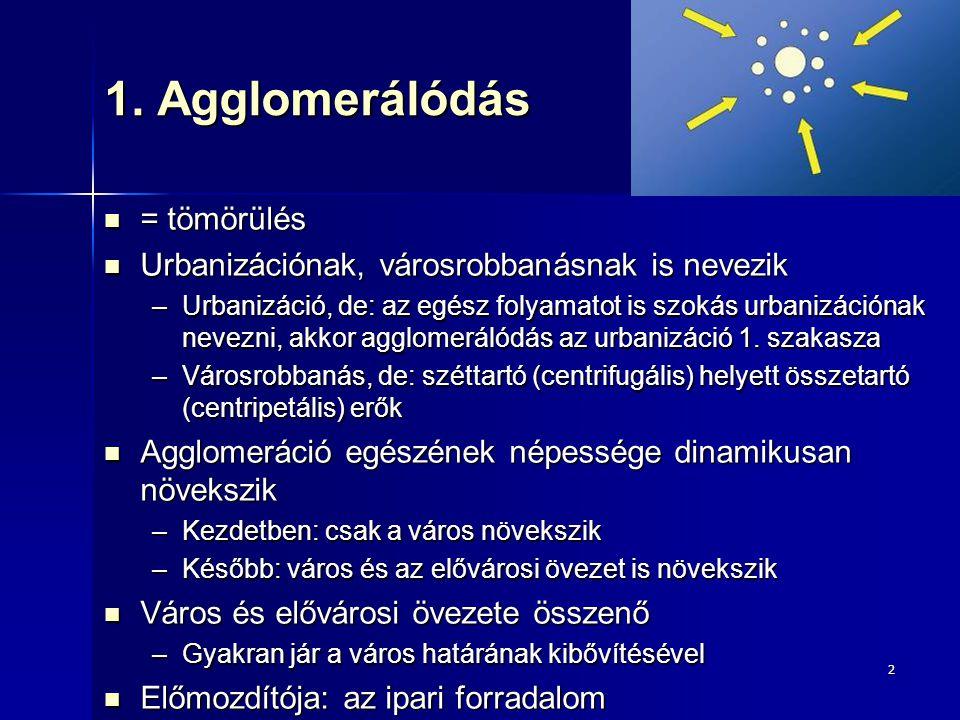 """23 A dezurbanizáció okai Nyugat-Európa 1970-es vége, Kelet-Közép-Európa 1990-es évek Nyugat-Európa 1970-es vége, Kelet-Közép-Európa 1990-es évek Világgazdasági paradigmaváltás (posztfordizmus) Világgazdasági paradigmaváltás (posztfordizmus) –A hagyományos ipari termelés válsága (snowbelt ↔ sunbelt) A zsúfolt, szennyezett nagyvárosi agglomerációk népességmegtartó ereje csökken A zsúfolt, szennyezett nagyvárosi agglomerációk népességmegtartó ereje csökken –A falusias, érintetlen térségek vonzereje fölerősödik Új közlekedési és kommunikációs technológiák elterjedése (mobiltelefon, e-mail, Internet):  a munkavégzés elszakadhat a városoktól Új közlekedési és kommunikációs technológiák elterjedése (mobiltelefon, e-mail, Internet):  a munkavégzés elszakadhat a városoktól Központi város """"slum -osodása Központi város """"slum -osodása Kelet-Közép-Európa sajátosságai Kelet-Közép-Európa sajátosságai –Korábbi időszakban megindult a város """"slum osodása –Demográfiai hullámvölgy az egész országban –Dezindusztrializáció a mesterségesen felduzzasztott ipar leépülése"""