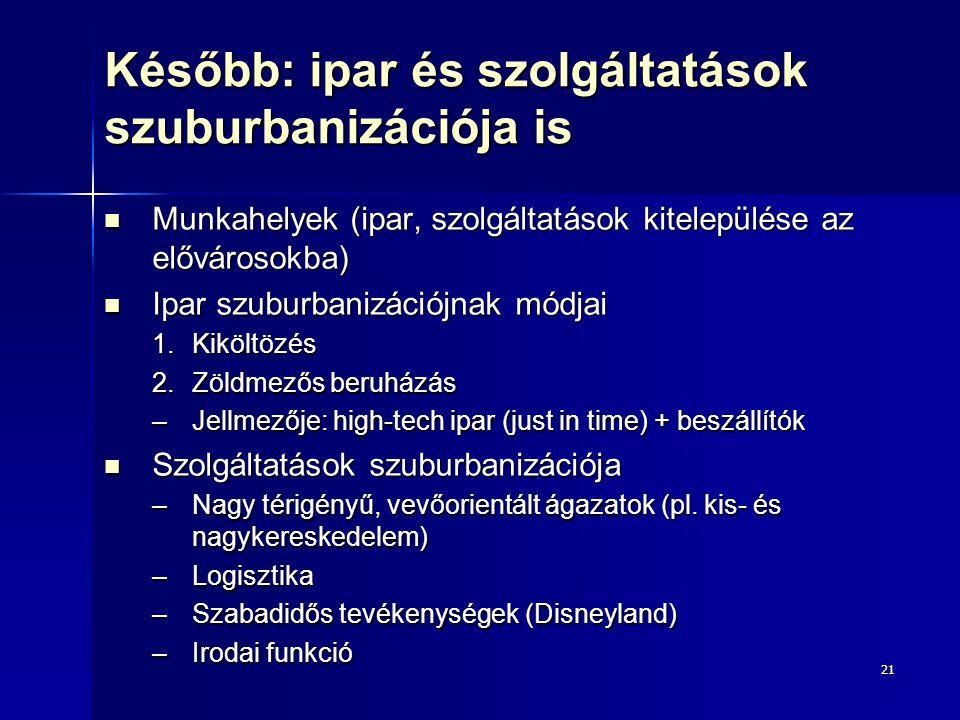 21 Később: ipar és szolgáltatások szuburbanizációja is Munkahelyek (ipar, szolgáltatások kitelepülése az elővárosokba) Munkahelyek (ipar, szolgáltatás