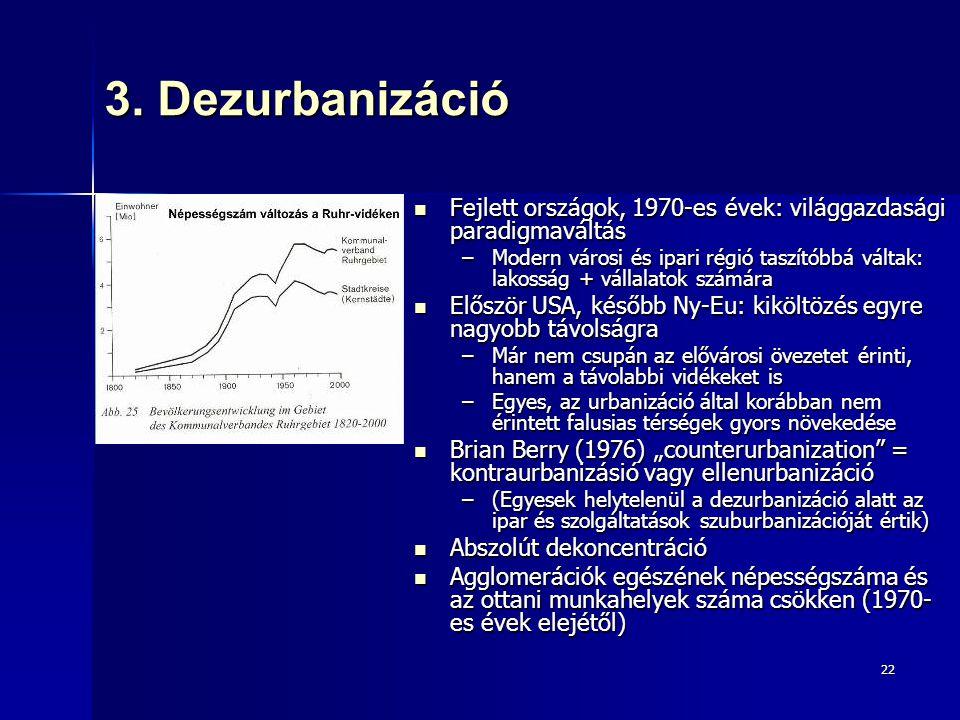 22 3. Dezurbanizáció Fejlett országok, 1970-es évek: világgazdasági paradigmaváltás Fejlett országok, 1970-es évek: világgazdasági paradigmaváltás –Mo