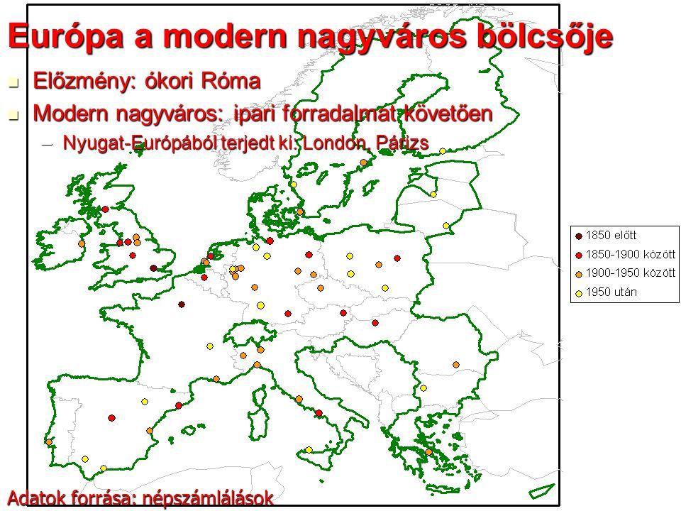 20 Lakosság spontán szuburbanizációja Mozgatórugói Mozgatórugói –Elégtelen lakáskínálat a városban –Elégtelen lakókörnyezet a városban –Közlekedési infrastruktúra fejlődése  lakóhely – munkahely térbeli különválása Eleinte kötöttpályás tömegközlekedés (vasút, HÉV): sugaras terjeszkedés, Eleinte kötöttpályás tömegközlekedés (vasút, HÉV): sugaras terjeszkedés, –Később személygépkocsi (Ford T-modell sokak számára elérhető): sugarak között is beépülnek a területek –Ma: autópályák, zónázó vonatok Fejlett világban 1920-as évektől az 1970-es évekig Fejlett világban 1920-as évektől az 1970-es évekig –Kelet-Közép-Európa csak 1970-es évektől (letelepedés korlátozása a városban) Eredménye: város népességszám növekedése lelassul, majd fogy Eredménye: város népességszám növekedése lelassul, majd fogy –Munkahelyek azért jórészt itt maradnak Elővárosok: főleg lakófunkció, ritkább beépítés, zöld területek Elővárosok: főleg lakófunkció, ritkább beépítés, zöld területek