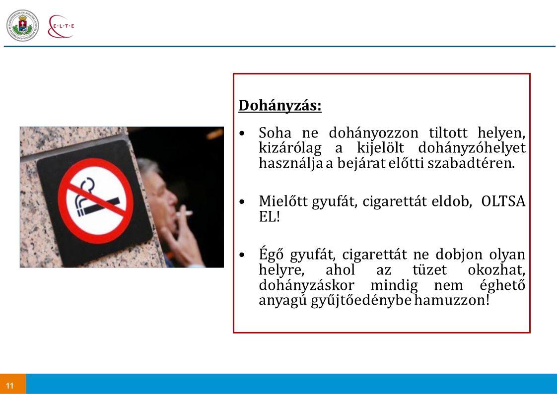 11 Dohányzás: Soha ne dohányozzon tiltott helyen, kizárólag a kijelölt dohányzóhelyet használja a bejárat előtti szabadtéren. Mielőtt gyufát, cigarett