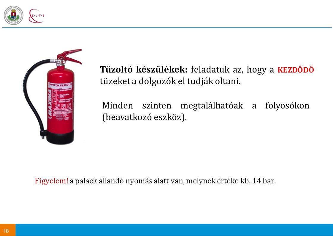 18 Tűzoltó készülékek: feladatuk az, hogy a KEZDŐDŐ tüzeket a dolgozók el tudják oltani. Figyelem! a palack állandó nyomás alatt van, melynek értéke k