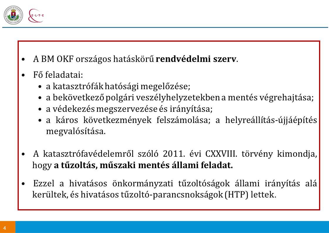 4 A BM OKF országos hatáskörű rendvédelmi szerv. Fő feladatai: a katasztrófák hatósági megelőzése; a bekövetkező polgári veszélyhelyzetekben a mentés