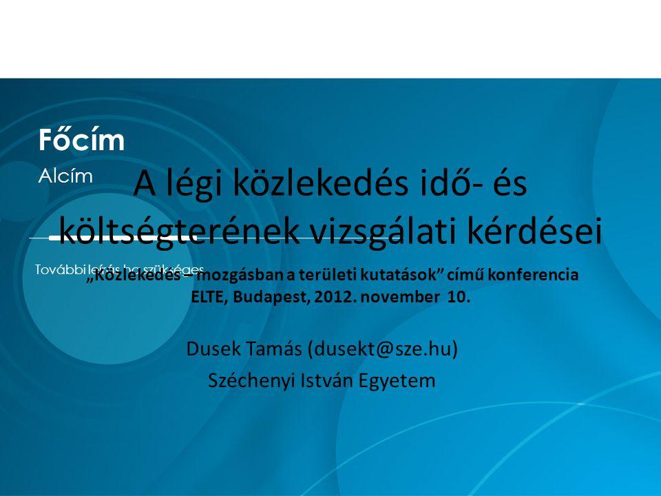 """További leírás ha szükséges Főcím Alcím A légi közlekedés idő- és költségterének vizsgálati kérdései """"Közlekedés – mozgásban a területi kutatások című konferencia ELTE, Budapest, 2012."""