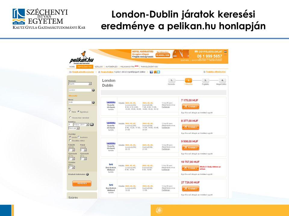 London-Dublin járatok keresési eredménye a pelikan.hu honlapján