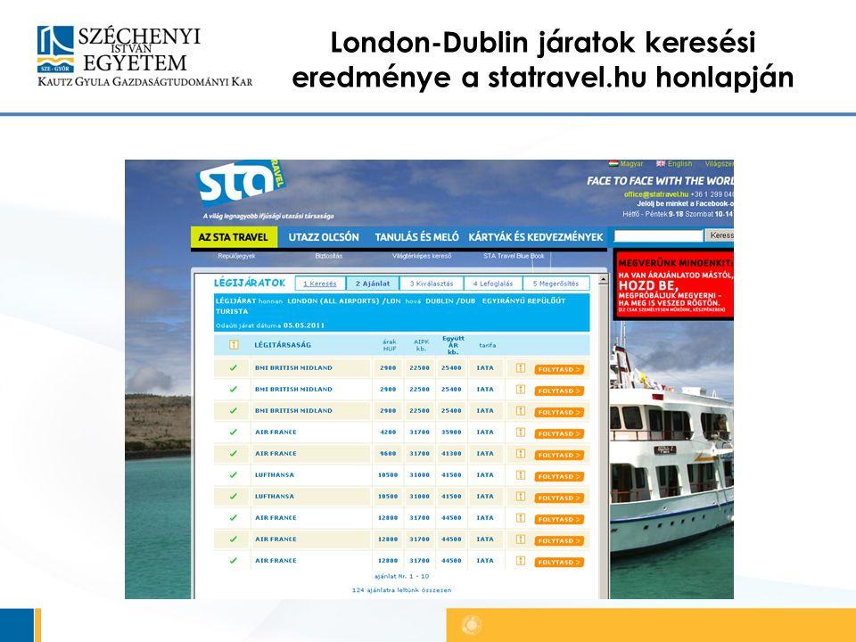 London-Dublin járatok keresési eredménye a statravel.hu honlapján