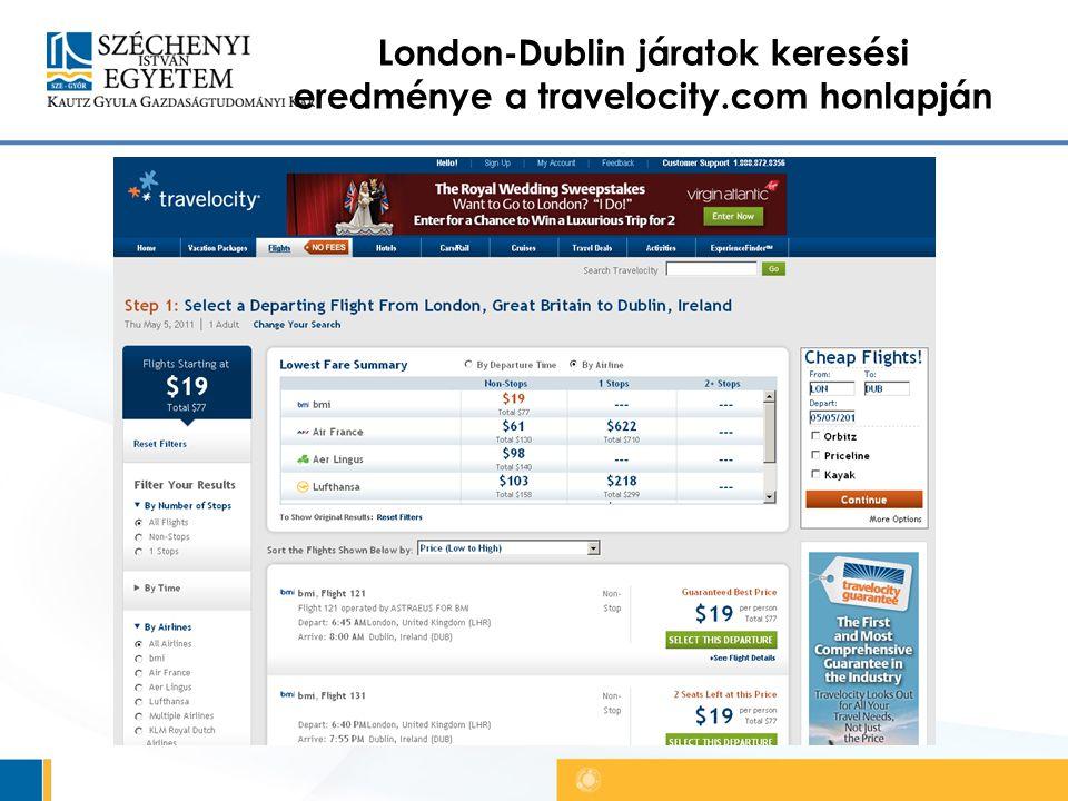 London-Dublin járatok keresési eredménye a travelocity.com honlapján