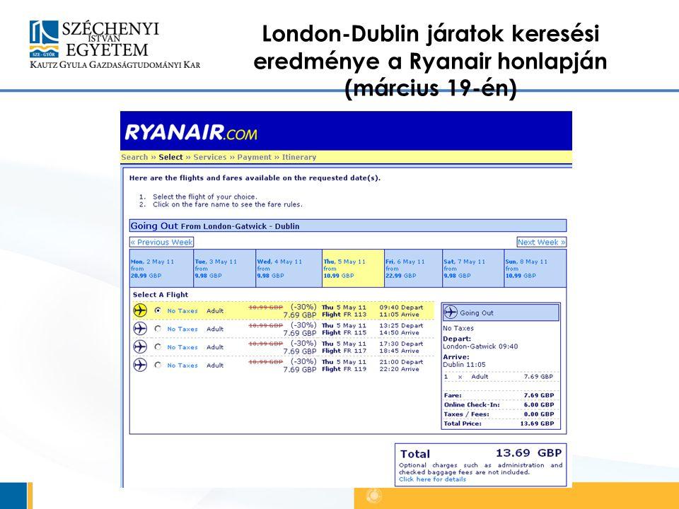 London-Dublin járatok keresési eredménye a Ryanair honlapján (március 19-én)