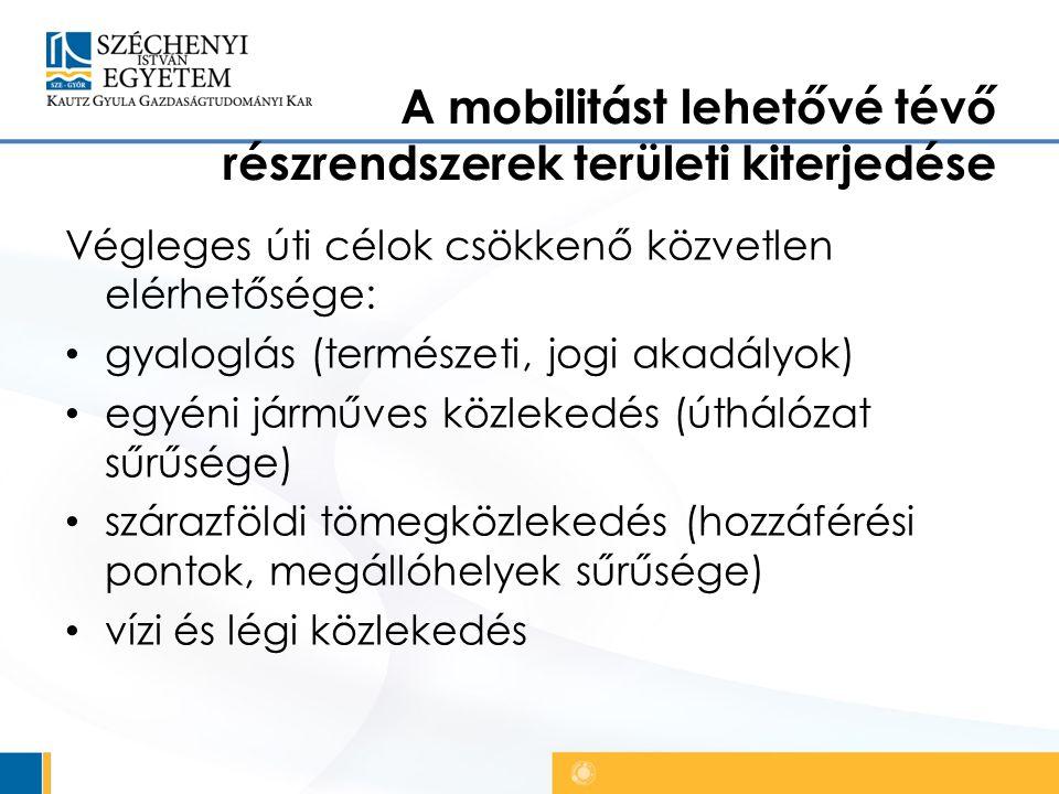 A mobilitást lehetővé tévő részrendszerek területi kiterjedése Végleges úti célok csökkenő közvetlen elérhetősége: gyaloglás (természeti, jogi akadályok) egyéni járműves közlekedés (úthálózat sűrűsége) szárazföldi tömegközlekedés (hozzáférési pontok, megállóhelyek sűrűsége) vízi és légi közlekedés